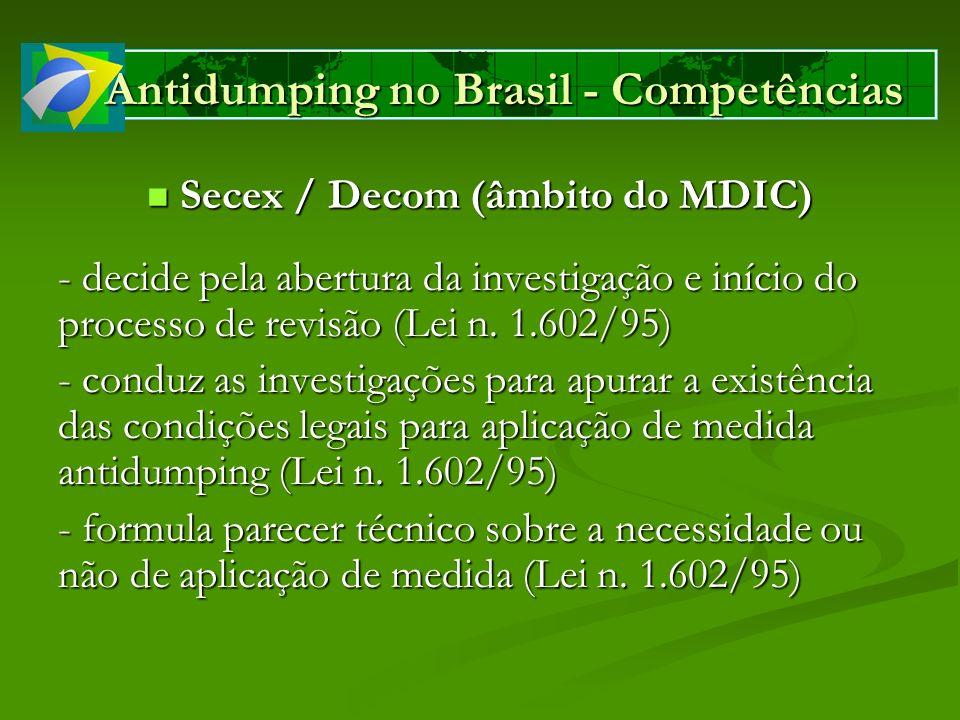 Antidumping no Brasil - Competências Camex (órgão colegiado interministerial) Camex (órgão colegiado interministerial) - Decide pela fixação de direitos antidumping, provisórios ou definitivos (Decreto n.