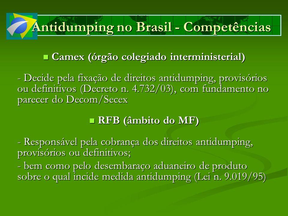 Antidumping no Brasil - Competências Camex (órgão colegiado interministerial) Camex (órgão colegiado interministerial) - Decide pela fixação de direit