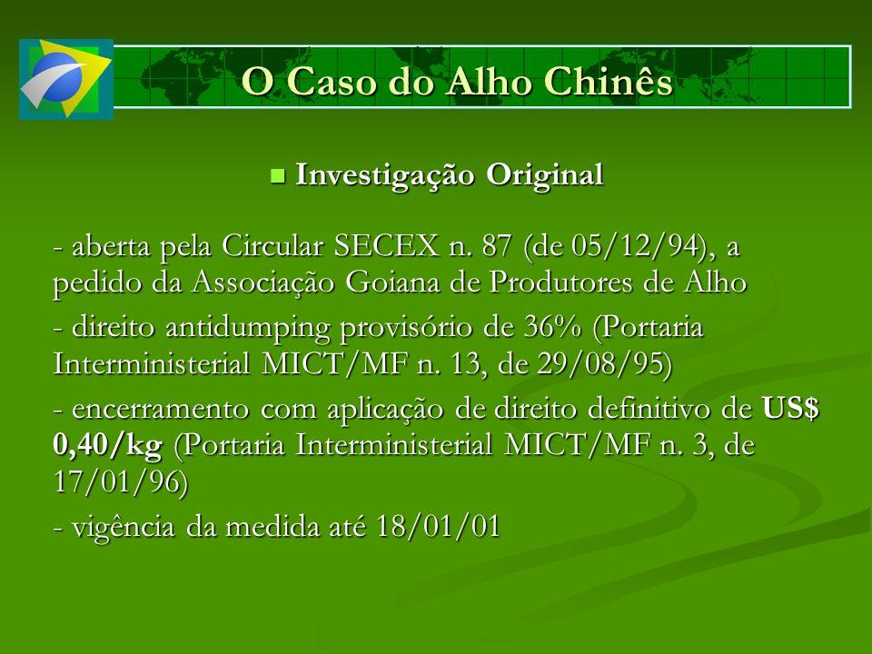 O Caso do Alho Chinês Investigação Original Investigação Original - aberta pela Circular SECEX n. 87 (de 05/12/94), a pedido da Associação Goiana de P