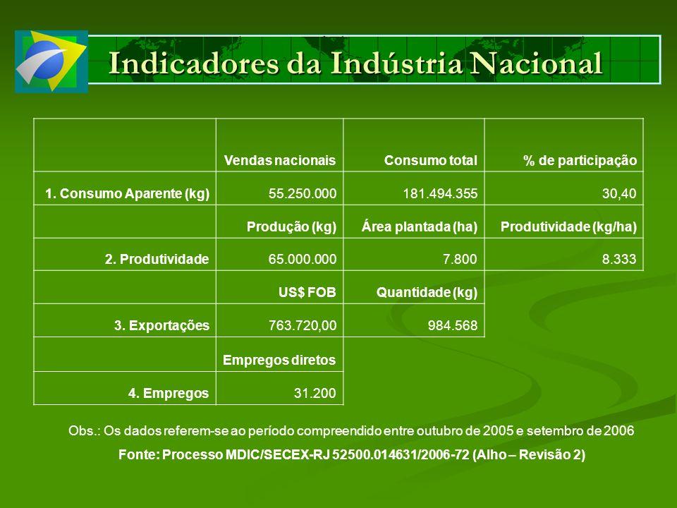 Indicadores da Indústria Nacional Obs.: Os dados referem-se ao período compreendido entre outubro de 2005 e setembro de 2006 Fonte: Processo MDIC/SECE