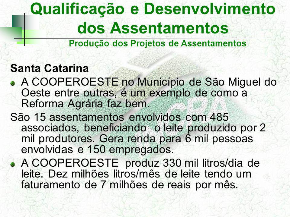 Qualificação e Desenvolvimento dos Assentamentos Santa Catarina A COOPEROESTE no Município de São Miguel do Oeste entre outras, é um exemplo de como a
