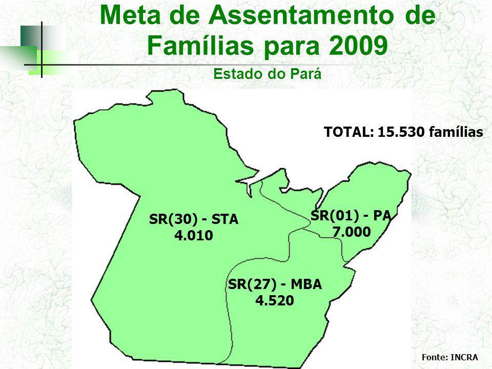 Meta de Assentamento de Famílias para 2009 Estado do Pará SR(30) - STA 4.010 SR(01) - PA 7.000 SR(27) - MBA 4.520 Fonte: INCRA TOTAL: 15.530 famílias