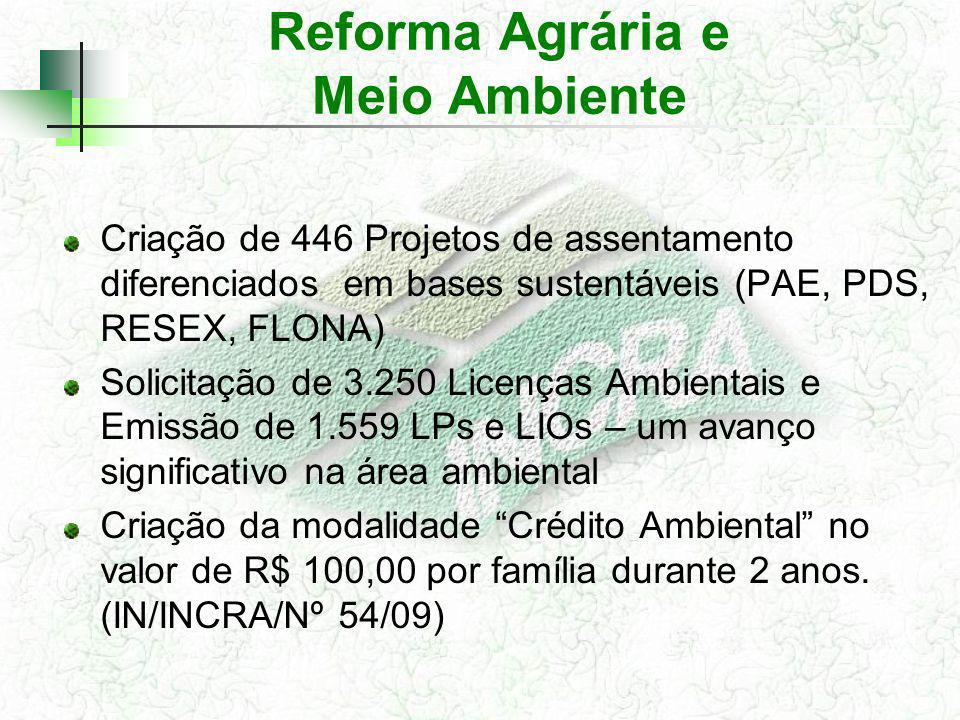 Criação de 446 Projetos de assentamento diferenciados em bases sustentáveis (PAE, PDS, RESEX, FLONA) Solicitação de 3.250 Licenças Ambientais e Emissã