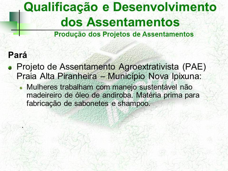 Qualificação e Desenvolvimento dos Assentamentos Pará Projeto de Assentamento Agroextrativista (PAE) Praia Alta Piranheira – Município Nova Ipixuna: Mulheres trabalham com manejo sustentável não madeireiro de óleo de andiroba.