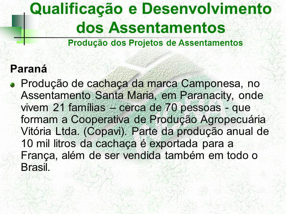 Qualificação e Desenvolvimento dos Assentamentos Paraná Produção de cachaça da marca Camponesa, no Assentamento Santa Maria, em Paranacity, onde vivem 21 famílias – cerca de 70 pessoas - que formam a Cooperativa de Produção Agropecuária Vitória Ltda.