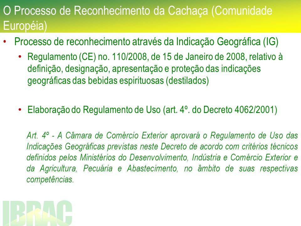 O Processo de Reconhecimento da Cachaça (Comunidade Européia) Processo de reconhecimento através da Indicação Geográfica (IG) Regulamento (CE) no. 110
