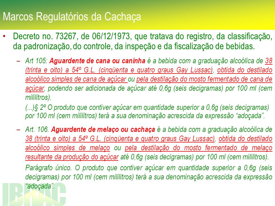 Marcos Regulatórios da Cachaça Decreto no. 73267, de 06/12/1973, que tratava do registro, da classificação, da padronização, do controle, da inspeção