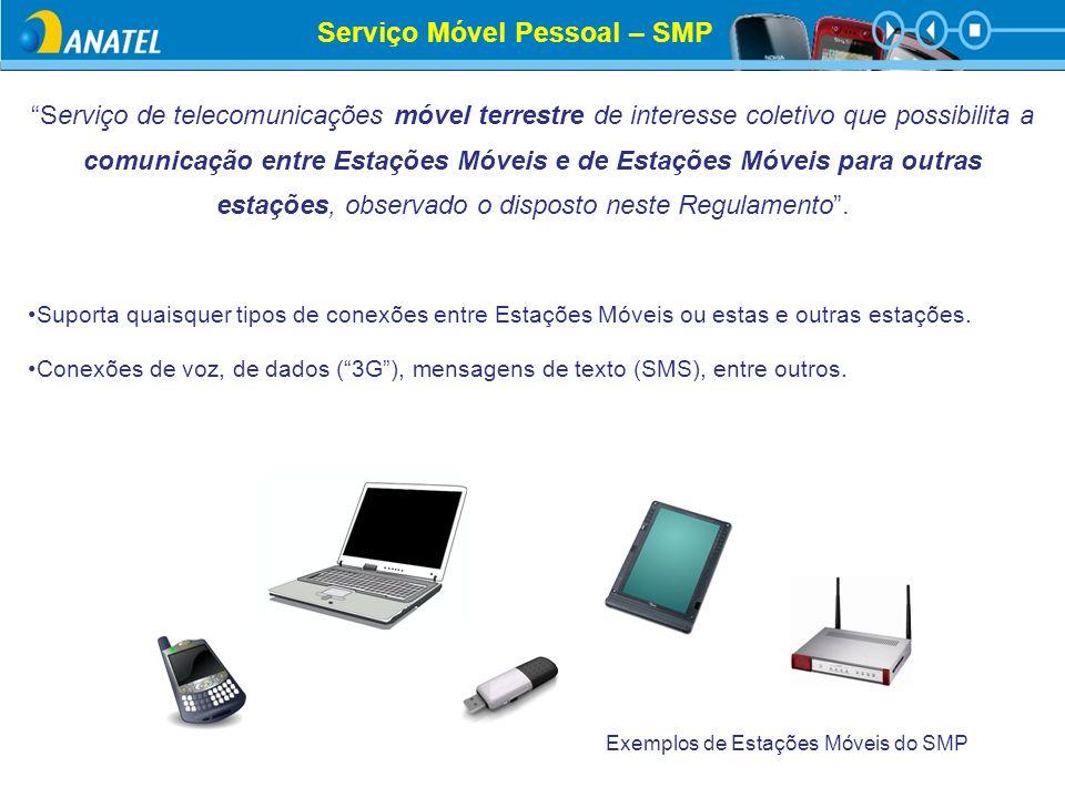 Serviço Móvel Pessoal – SMP Serviço de telecomunicações móvel terrestre de interesse coletivo que possibilita a comunicação entre Estações Móveis e de