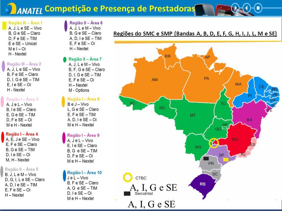 Regiões do SMC e SMP (Bandas A, B, D, E, F, G, H, I, J, L, M e SE) RR Competição e Presença de Prestadoras A, I, G e SE
