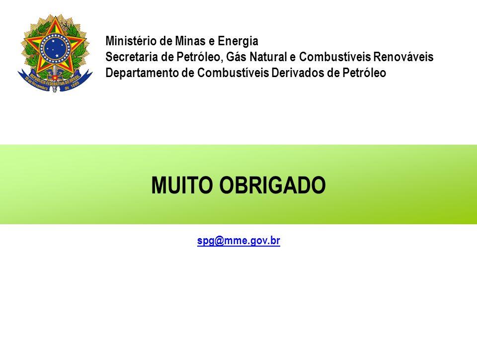 MUITO OBRIGADO spg@mme.gov.br Ministério de Minas e Energia Secretaria de Petróleo, Gás Natural e Combustíveis Renováveis Departamento de Combustíveis