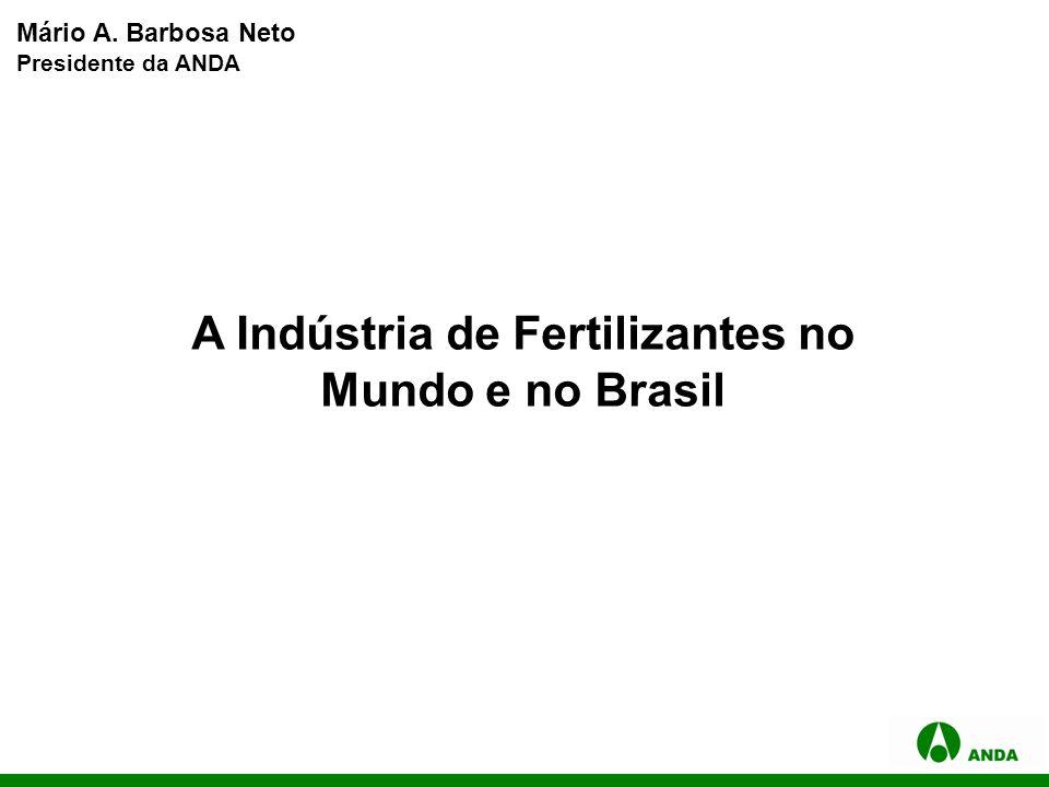 A Indústria de Fertilizantes no Mundo e no Brasil Mário A. Barbosa Neto Presidente da ANDA