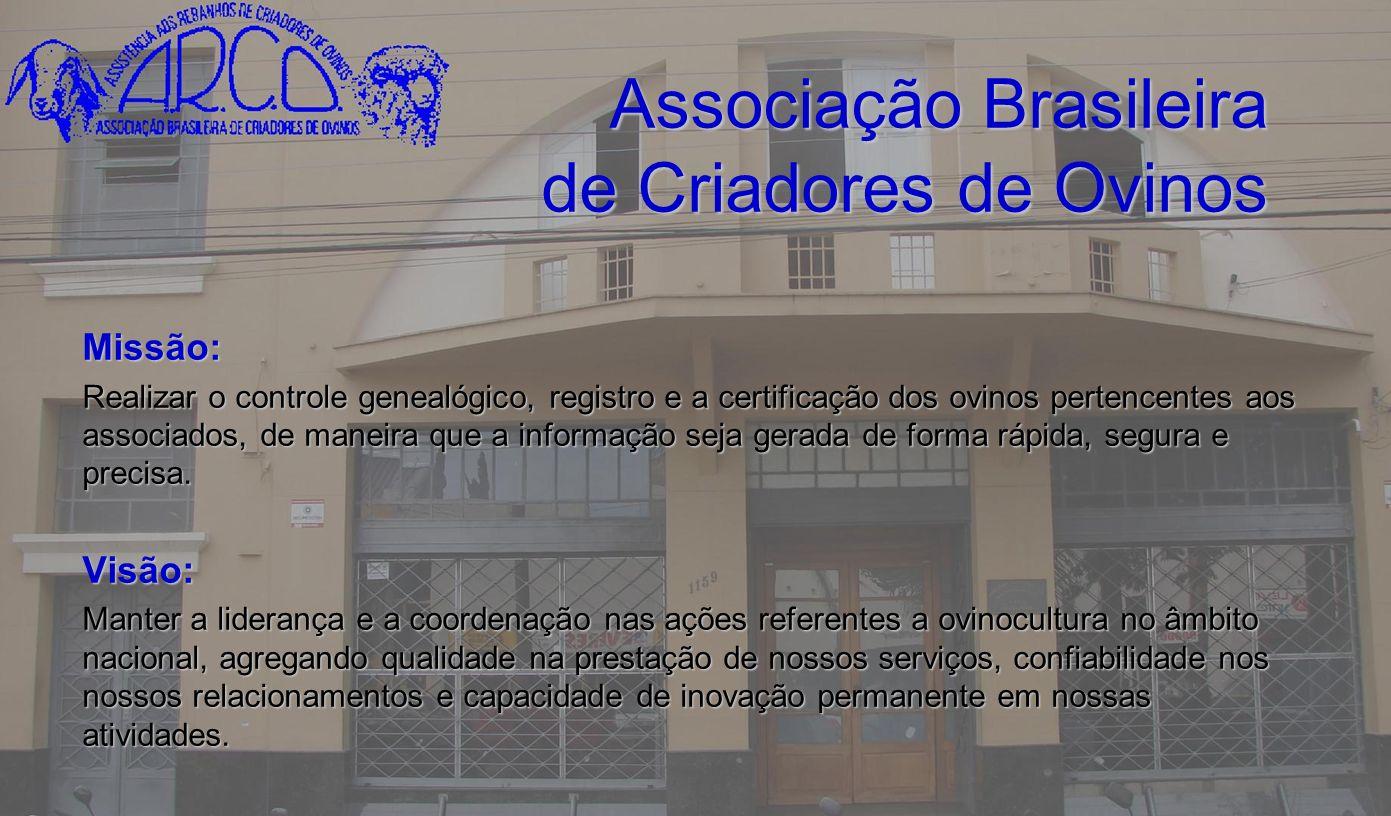 Associação Brasileira de Criadores de Ovinos Missão: Realizar o controle genealógico, registro e a certificação dos ovinos pertencentes aos associados