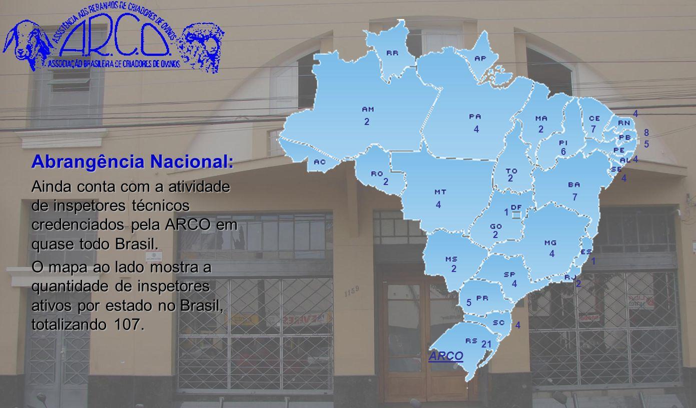 Abrangência Nacional: Ainda conta com a atividade de inspetores técnicos credenciados pela ARCO em quase todo Brasil. O mapa ao lado mostra a quantida
