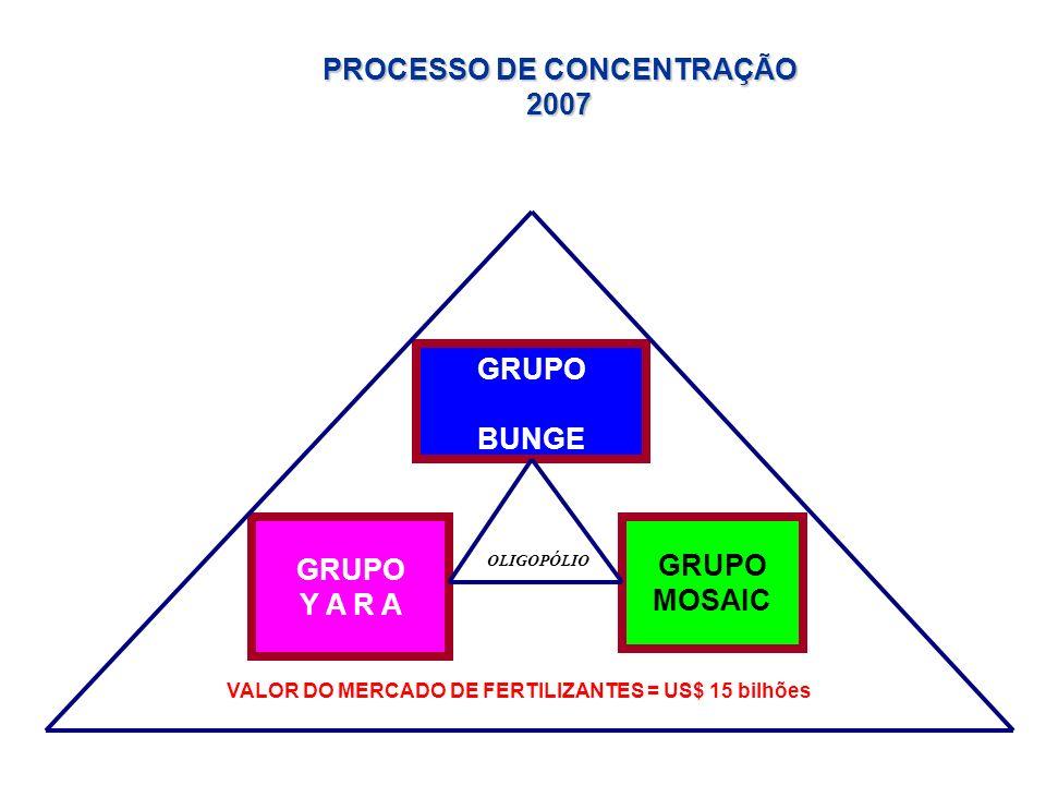 GRUPO BUNGE GRUPO Y A R A GRUPO MOSAIC PROCESSO DE CONCENTRAÇÃO 2007 VALOR DO MERCADO DE FERTILIZANTES = US$ 15 bilhões OLIGOPÓLIO