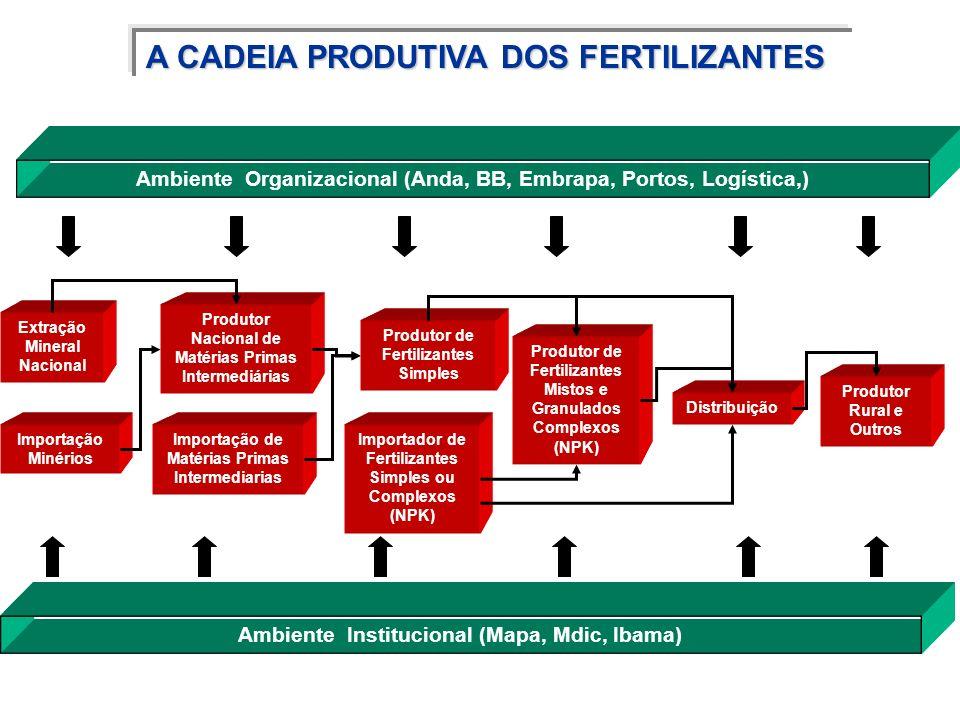 A CADEIA PRODUTIVA DOS FERTILIZANTES Ambiente Organizacional (Anda, BB, Embrapa, Portos, Logística,) Extração Mineral Nacional Produtor Nacional de Ma