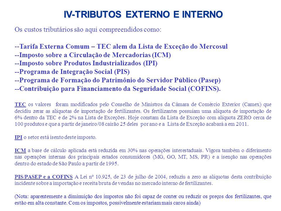 Os custos tributários são aqui compreendidos como: --Tarifa Externa Comum – TEC alem da Lista de Exceção do Mercosul --Imposto sobre a Circulação de M