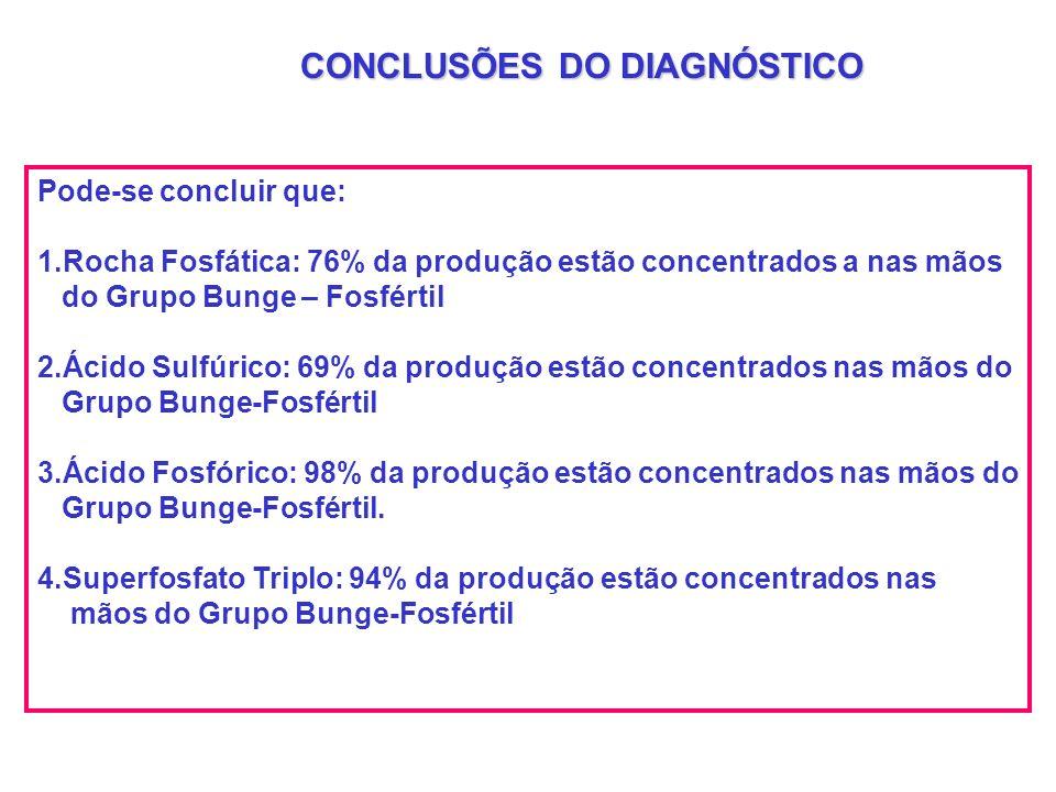 CONCLUSÕES DO DIAGNÓSTICO Pode-se concluir que: 1.Rocha Fosfática: 76% da produção estão concentrados a nas mãos do Grupo Bunge – Fosfértil 2.Ácido Su