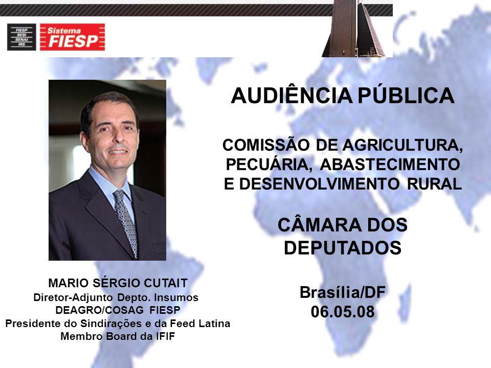 MARIO SÉRGIO CUTAIT Diretor-Adjunto Depto. Insumos DEAGRO/COSAG FIESP Presidente do Sindirações e da Feed Latina Membro Board da IFIF AUDIÊNCIA PÚBLIC