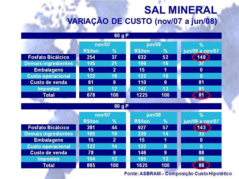 Fonte: ASBRAM – Composição Custo Hipotético SAL MINERAL VARIAÇÃO DE CUSTO (nov/07 a jun/08)