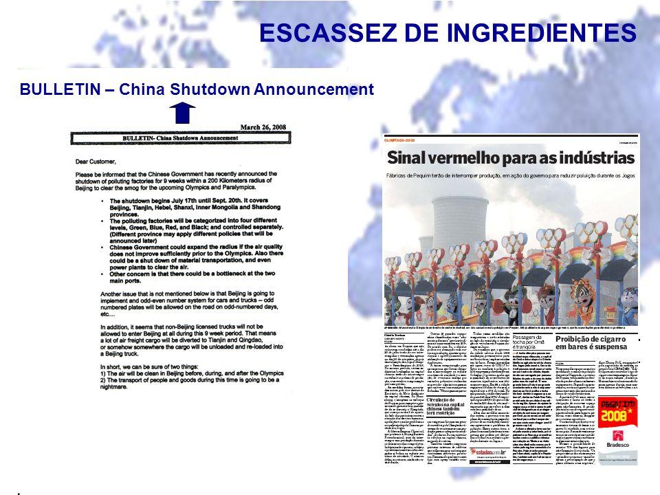 ESCASSEZ DE INGREDIENTES BULLETIN – China Shutdown Announcement