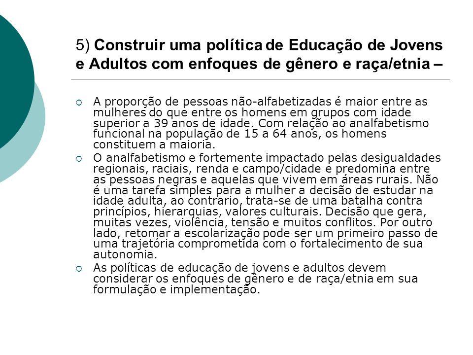 5) Construir uma política de Educação de Jovens e Adultos com enfoques de gênero e raça/etnia – A proporção de pessoas não-alfabetizadas é maior entre