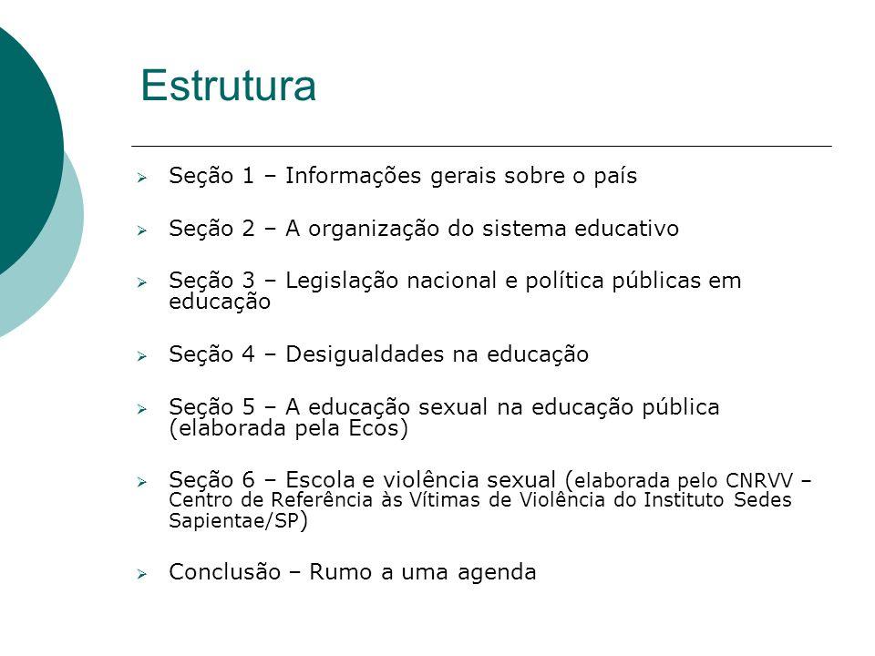 Estrutura Seção 1 – Informações gerais sobre o país Seção 2 – A organização do sistema educativo Seção 3 – Legislação nacional e política públicas em