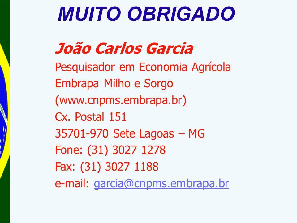 João Carlos Garcia Pesquisador em Economia Agrícola Embrapa Milho e Sorgo (www.cnpms.embrapa.br) Cx.