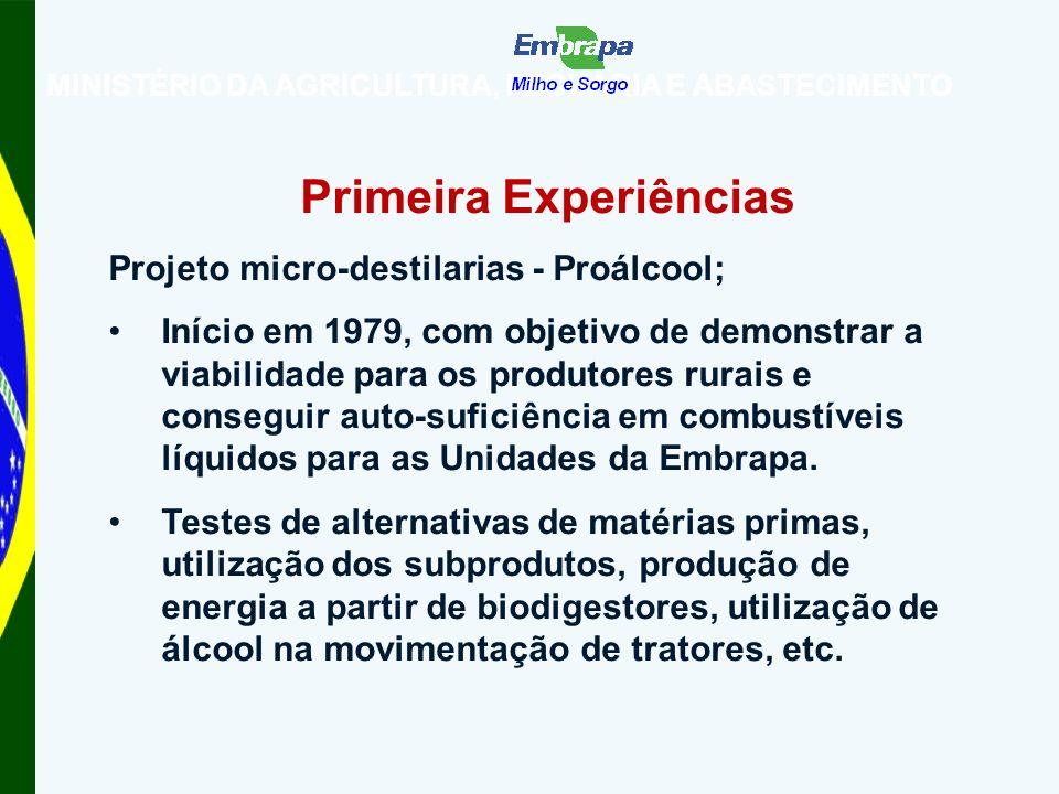 MINISTÉRIO DA AGRICULTURA, PECUÁRIA E ABASTECIMENTO Primeira Experiências Projeto micro-destilarias - Proálcool; Início em 1979, com objetivo de demonstrar a viabilidade para os produtores rurais e conseguir auto-suficiência em combustíveis líquidos para as Unidades da Embrapa.