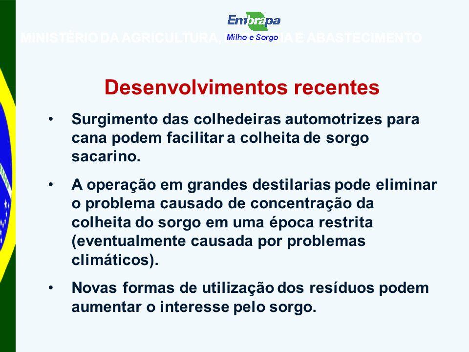 MINISTÉRIO DA AGRICULTURA, PECUÁRIA E ABASTECIMENTO Desenvolvimentos recentes Surgimento das colhedeiras automotrizes para cana podem facilitar a colheita de sorgo sacarino.