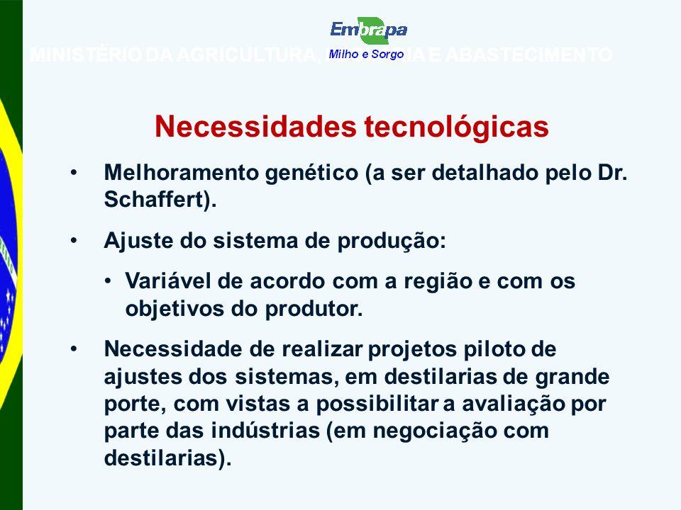 Necessidades tecnológicas Melhoramento genético (a ser detalhado pelo Dr.