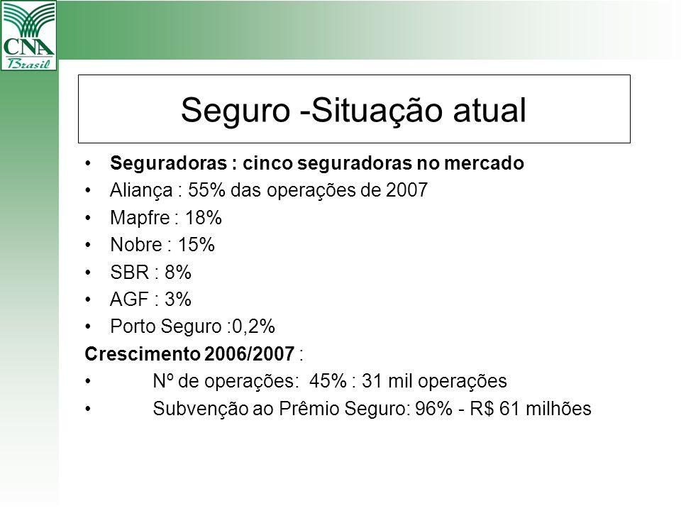 Seguro -Situação atual Seguradoras : cinco seguradoras no mercado Aliança : 55% das operações de 2007 Mapfre : 18% Nobre : 15% SBR : 8% AGF : 3% Porto