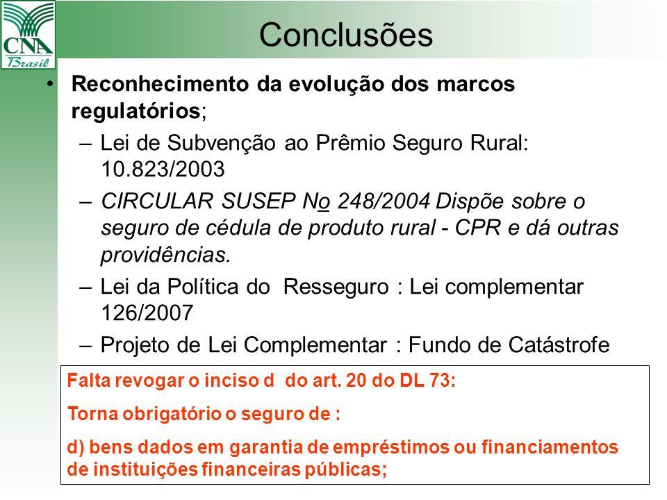 Conclusões Reconhecimento da evolução dos marcos regulatórios; –Lei de Subvenção ao Prêmio Seguro Rural: 10.823/2003 –CIRCULAR SUSEP No 248/2004 Dispõ