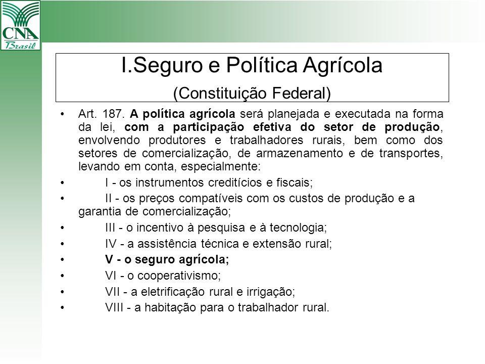 I.Seguro e Política Agrícola (Constituição Federal) Art. 187. A política agrícola será planejada e executada na forma da lei, com a participação efeti