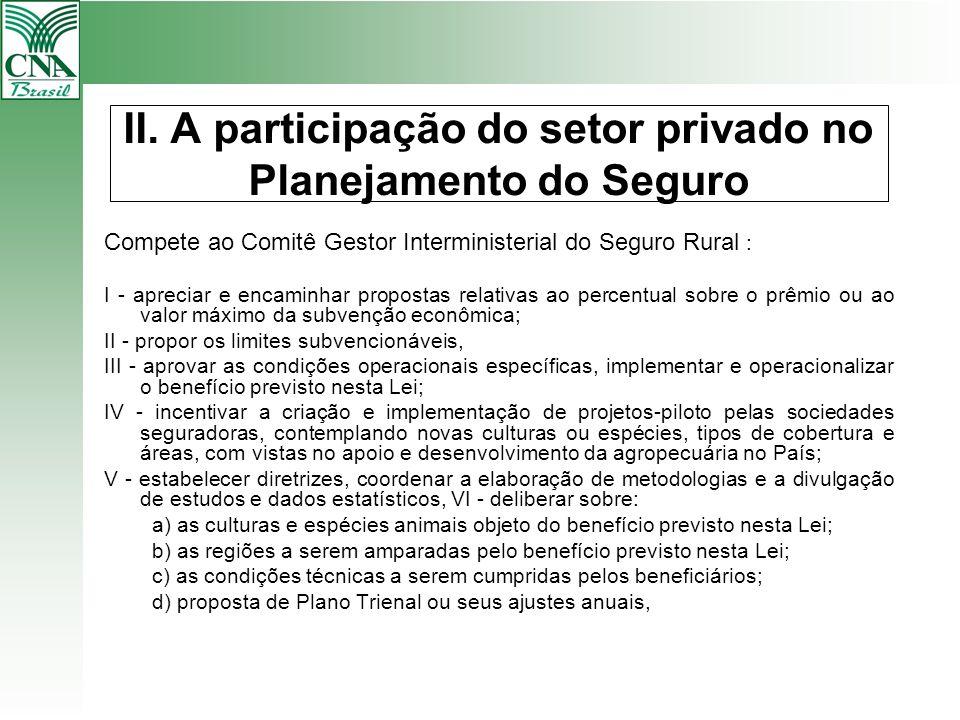 II. A participação do setor privado no Planejamento do Seguro Compete ao Comitê Gestor Interministerial do Seguro Rural : I - apreciar e encaminhar pr