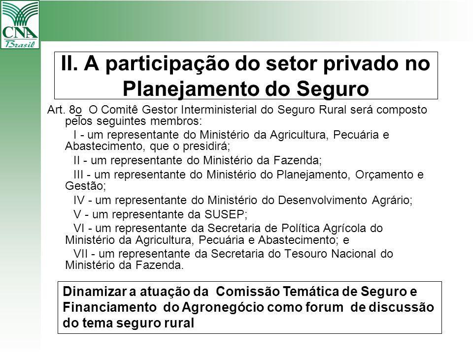 II. A participação do setor privado no Planejamento do Seguro Art. 8o O Comitê Gestor Interministerial do Seguro Rural será composto pelos seguintes m