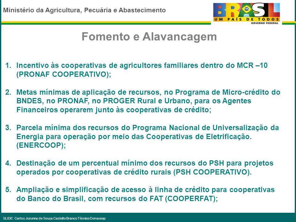 Ministério da Agricultura, Pecuária e Abastecimento SLIDE: Carlos Jurunna de Souza Castello Branco Técnico Denacoop Ações de Apoio, Fomento e Alavanca