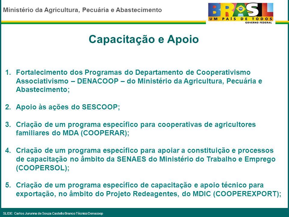 Ministério da Agricultura, Pecuária e Abastecimento SLIDE: Carlos Jurunna de Souza Castello Branco Técnico Denacoop 1.Incentivo às cooperativas de agr