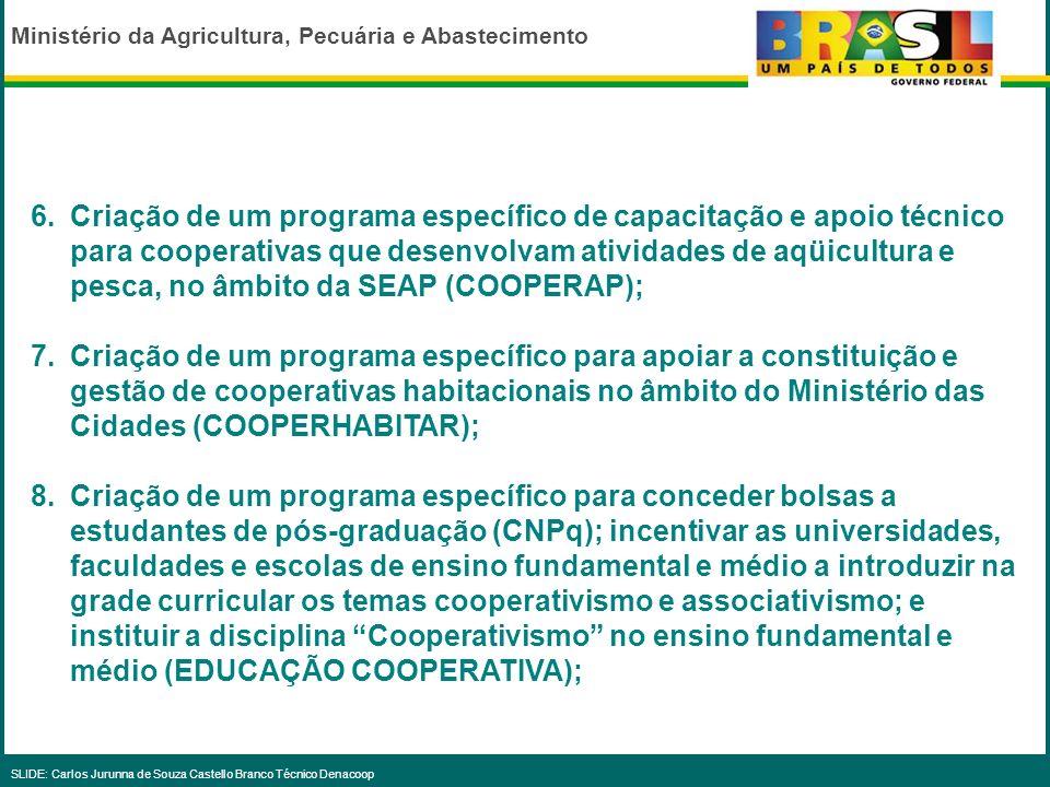 Ministério da Agricultura, Pecuária e Abastecimento SLIDE: Carlos Jurunna de Souza Castello Branco Técnico Denacoop Capacitação e Apoio 1.Fortalecimen