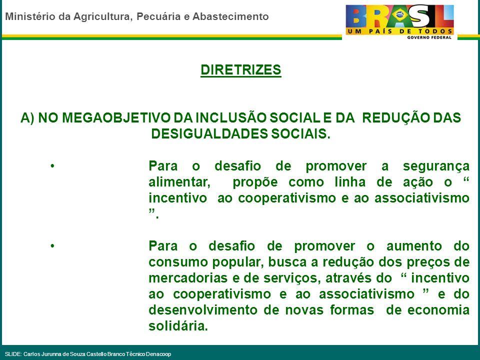 Ministério da Agricultura, Pecuária e Abastecimento SLIDE: Carlos Jurunna de Souza Castello Branco Técnico Denacoop O PPA 2004-2007 foi elaborado em 2