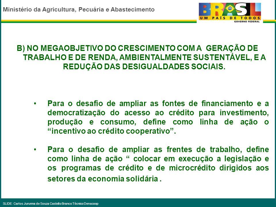 Ministério da Agricultura, Pecuária e Abastecimento SLIDE: Carlos Jurunna de Souza Castello Branco Técnico Denacoop DIRETRIZES A) NO MEGAOBJETIVO DA I