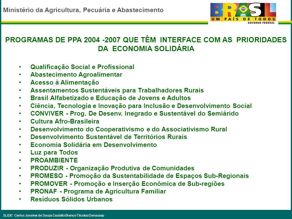 Ministério da Agricultura, Pecuária e Abastecimento SLIDE: Carlos Jurunna de Souza Castello Branco Técnico Denacoop Para o desafio de implantar a Refo