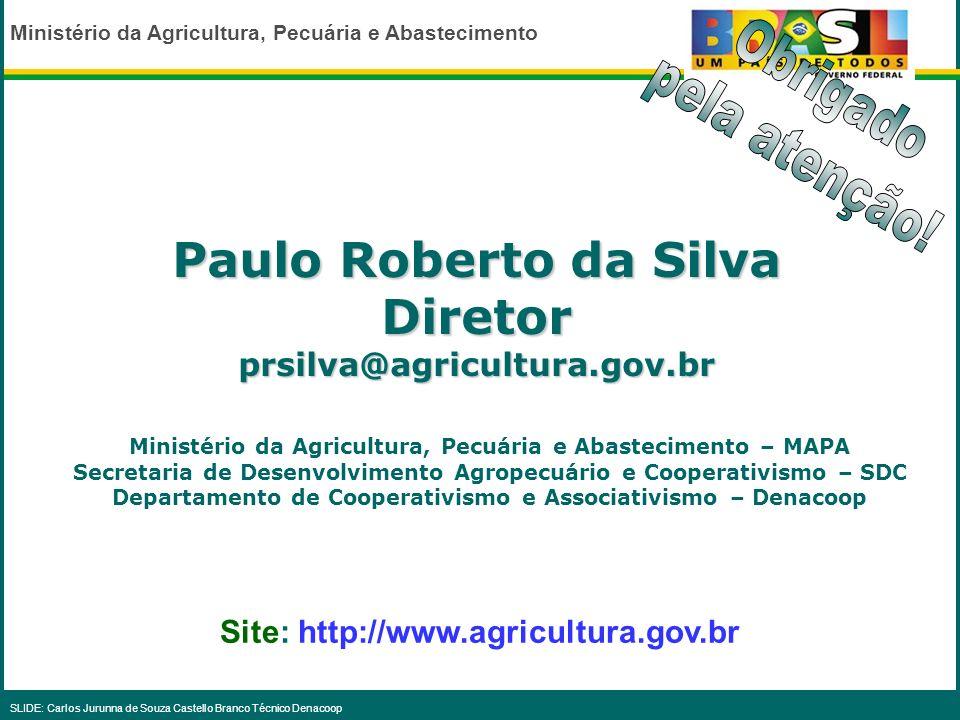 Ministério da Agricultura, Pecuária e Abastecimento SLIDE: Carlos Jurunna de Souza Castello Branco Técnico DenacoopN26.983NE113.171 CO137.190 SE55.647
