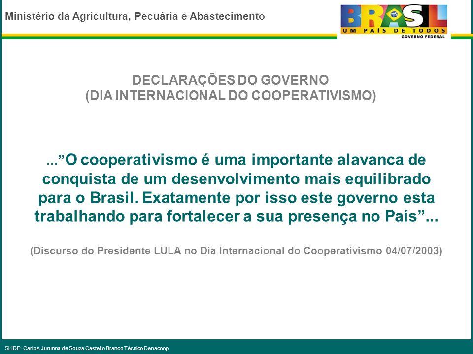 Ministério da Agricultura, Pecuária e Abastecimento SLIDE: Carlos Jurunna de Souza Castello Branco Técnico Denacoop GOVERNO X COOPERATIVAS DISPOSITIVO