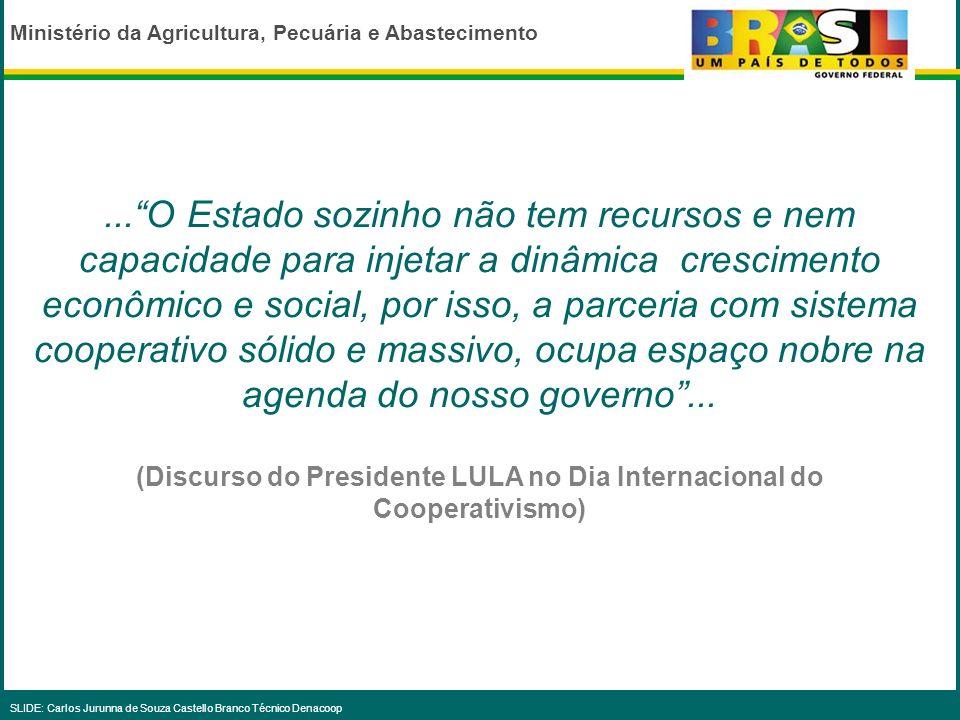 Ministério da Agricultura, Pecuária e Abastecimento SLIDE: Carlos Jurunna de Souza Castello Branco Técnico Denacoop DISTRIBUIÇÃO REGIONAL DOS RECURSOS DO DENACOOP 2003-2006 (R$) N4.631.766 NE7.210.637 CO2.828.589 SE1.739.842 S5.027.845 NAC.6.323.139 TOTAL27.761.818
