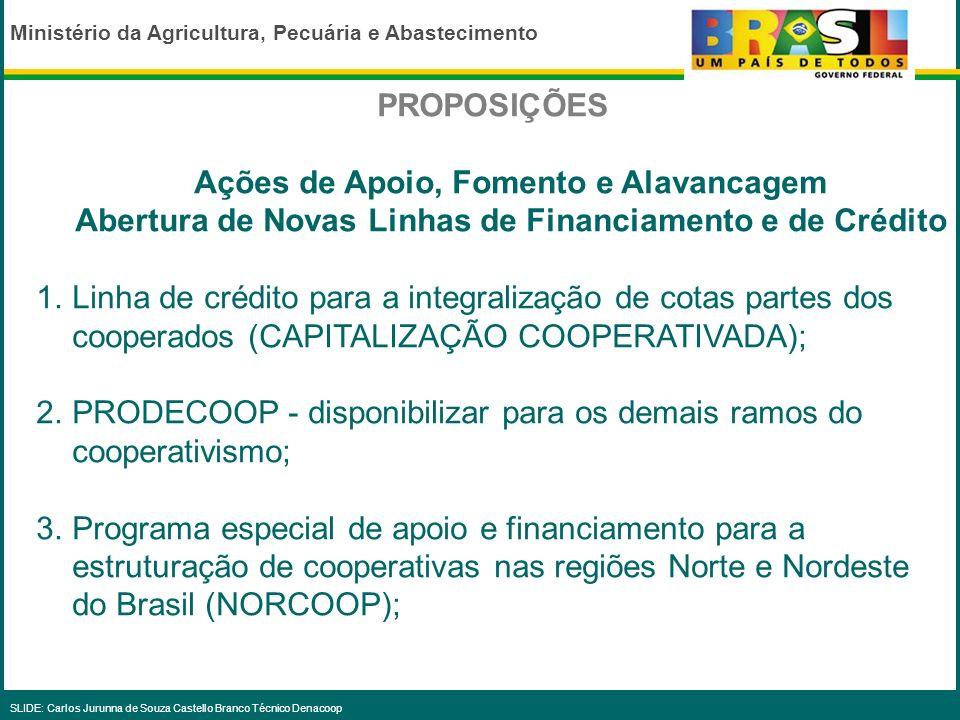 Ministério da Agricultura, Pecuária e Abastecimento SLIDE: Carlos Jurunna de Souza Castello Branco Técnico Denacoop OBJETIVOS analisar propostas, elab