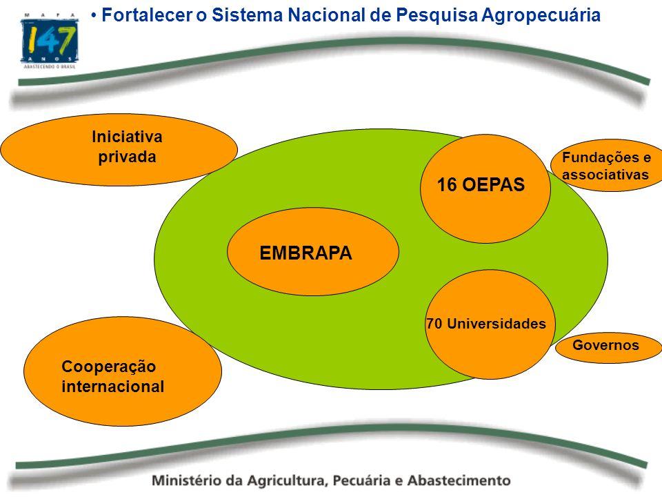EMBRAPA Fortalecer o Sistema Nacional de Pesquisa Agropecuária 70 Universidades 16 OEPAS Iniciativa privada Cooperação internacional Fundações e assoc