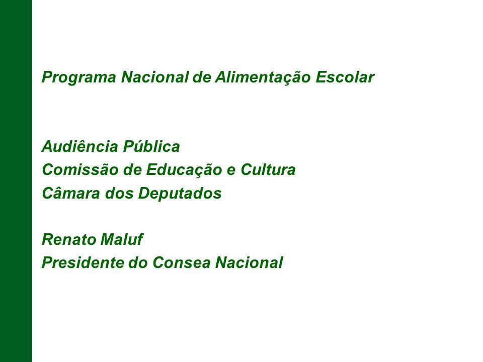 Programa Nacional de Alimentação Escolar Audiência Pública Comissão de Educação e Cultura Câmara dos Deputados Renato Maluf Presidente do Consea Nacio