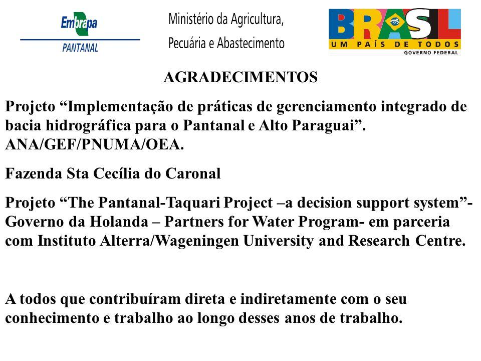AGRADECIMENTOS Projeto Implementação de práticas de gerenciamento integrado de bacia hidrográfica para o Pantanal e Alto Paraguai. ANA/GEF/PNUMA/OEA.