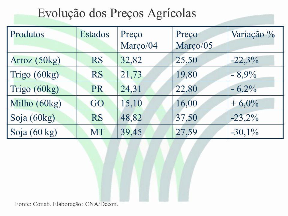 Evolução dos Preços Agrícolas ProdutosEstadosPreço Março/04 Preço Março/05 Variação % Arroz (50kg)RS32,8225,50-22,3% Trigo (60kg)RS21,7319,80- 8,9% Trigo (60kg)PR24,3122,80- 6,2% Milho (60kg)GO15,1016,00+ 6,0% Soja (60kg)RS48,8237,50-23,2% Soja (60 kg)MT39,4527,59-30,1% Fonte: Conab.