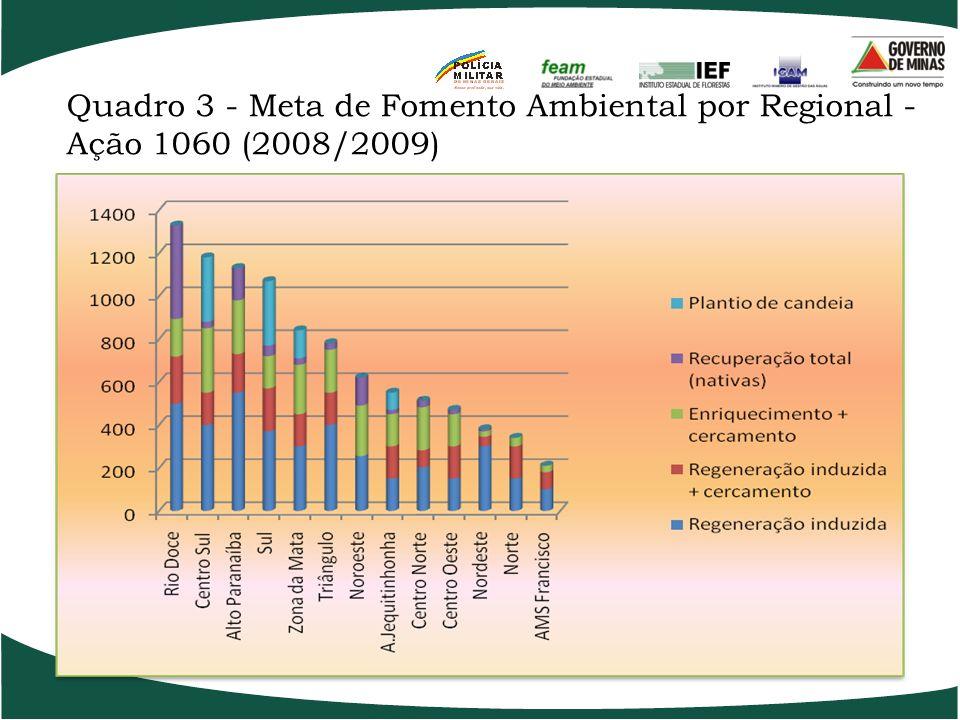 Quadro 2 -Meta das Parcerias da Ação 1060 (2008/2009) Parcerias Área em hectares Pref. Municipal de Extrema4.000 AMA JF 600 Pref. Municipal de Itamont